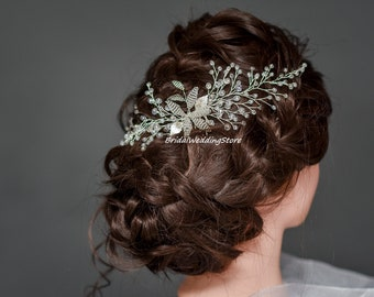 Silver Hair Comb, Silver Leaf Comb, Crystal Bridal Hair Comb, Silver leaf hair comb, Crystal Hair Piece, Silver headpiece, Wedding Hairpiece