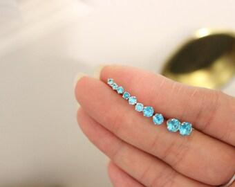 Blue Stud Earrings, December birthstone, tiny stud earrings, birthstone stud earrings, teeny tiny studs, bridesmaid gift, baby earrings