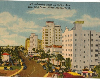 Linen Postcard, Miami Beach, Florida, Looking North on Collins Avenue from 63rd Street