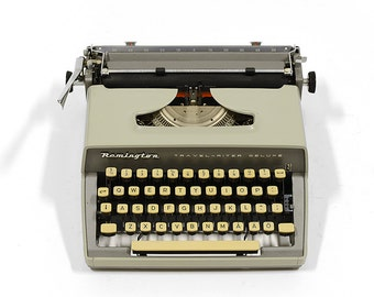... Vintage Remington Rand Model 5 Portable Typewriter with Red Key  (c.1930s) -