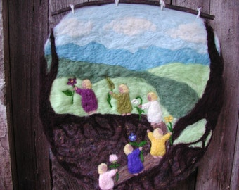 The Root Children (CUSTOM) - Felted Wool Wall Hanging