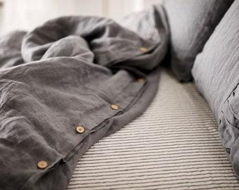 Elephant gray Linen Duvet cover-15 colors -Pre washed Linen Duvet Cover-Linen bedding-Stonewashed duvet -Natural Duvet Cover #November rain#
