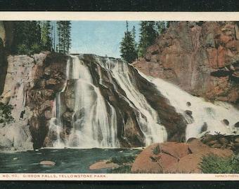 Yellowstone National Park Postcard/ Gibbon Falls Vintage Unused