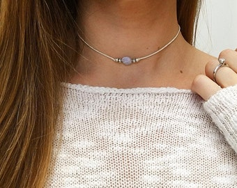 Blue lace agate beaded choker 'Alex', Gemstone choker, crystal choker necklace, blue gemstone necklace, silver choker by Serenity Project