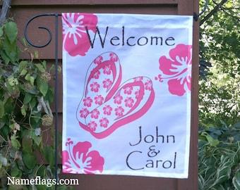 Personalized Tropical Flip Flip Flag, Garden or House Flag, Tropical Flip Flop Flag