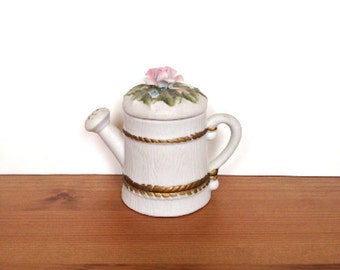 Vintage ceramic watering can trinket box with flowers gifts for mom