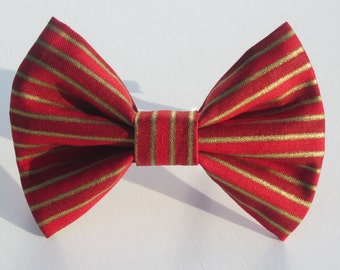 Reds and Gold Stripes Bow Tie
