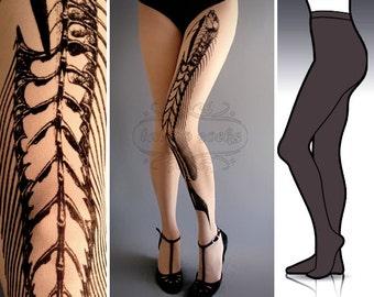S/M Fish Bone Dark Grey tattoo tights / stockings /  full length  / pantyhose / nylons
