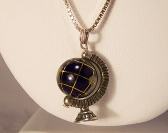 "RESERVED FFF Sterling Silver Inlaid Stone Globe Charm Pendant 19"" Necklace Rotates Black Onyx 114"
