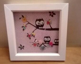 Button Art - Owl on a Branch