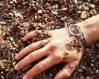 Leaf shaped bracelet - Baltic amber & Sterling silver
