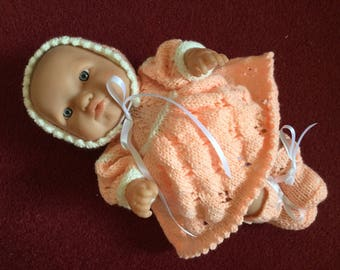 """Dress set 14"""" Berenguer 'Lots to Love' doll, hand knitted"""