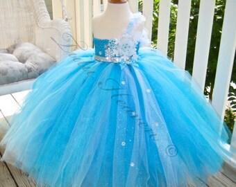 Snow Queen Tutu . Winter Wedding . Glitter Snowflake Bodice . Snow Queen Flower Girl  by The Tutu Factory USA
