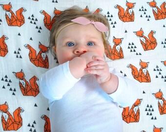 Organic Fox muslin swaddle blanket, Organic muslin baby blanket, Baby swaddle blanket, cotton baby blanket, stroller blanket