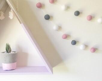 Quality Felt Ball Garland - Blush Pink-Grey-White- Nursery Decor- Pom Pom Garland
