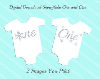 Snowflake One and One Silver Faux Glitter Birthday Images Digital Download for iron-ons, heat transfer, Scrapbooking, , DIY, YOU PRINT