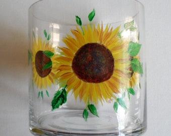 Sunflower Vase Sunflowers Vase Sunflower Glass Vase Hand Painted Vase Painted Sunflowers Glass Vase