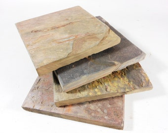 NATURAL SLATE COASTERS - 4 Assorted Colors - Handmade Stone Coaster Set Heavy, Naturally Absorbent, Work Great, Do Not Stick, Drink Coasters