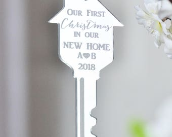 Our first Christmas in our new home ornament- key ornament- gift under 20- Our first Christmas- realtor gift