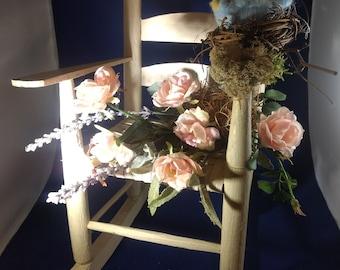 "Handmade Needle Felted BLUEBIRD in Nest on RUSTIC ROCKINGCHAIR-14"" Tall Silk Floral Arrangement-Chippy-Wool-Pink Roses & Lavender-Fresh!!!!!"