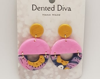 Dented Diva.Clay earrings. Pink, mustard and navy blue. Hand Made.