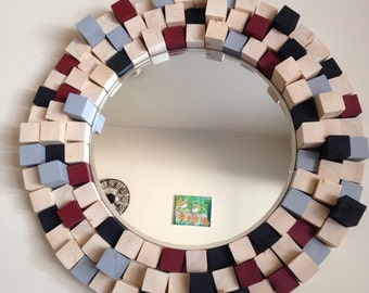 Multidimensional Round Mirror Multicolor Wood Frame Handmade