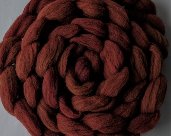 """Spinning Fiber Needle Felting 4 Ounce Braid Babydoll Southdown Wool & Alpaca  Combed Top Dark Red """" Sundried Tomato  """""""