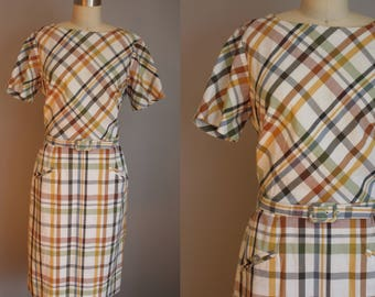 1950s Dress // Harvest Plaid with Pockets // Medium