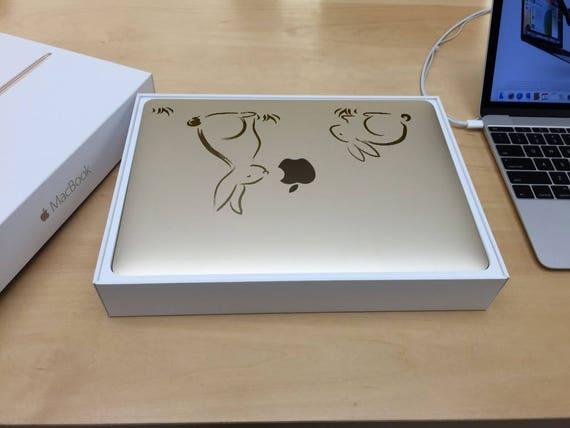 Cute and Adorable Bunnies Decal Sticker, Cartoon Bunny Rabbit Decals Funny Skin Laptop Vinyl, mac, Macbook Decal Sticker