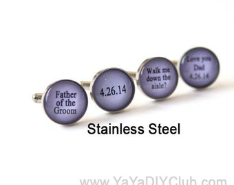 Lavender Wedding Favor,  Father of the Groom Gift, Father of groom Cufflinks, Father of the Bride Cufflinks - gift for Dad CUSTOM COLOR
