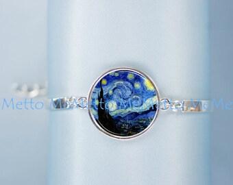 Starry Nigh Van Gogh Bracelet|Starry Nigh Van Gogh Art Jewelry Wedding Moon Jewelry Anniversary Gift| Gifts for HER Bridesmaid Gift