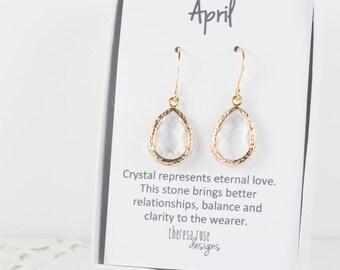 April Birthstone Gold Teardrop Earrings, Clear Gold Dangle Earrings, April Birthday Jewelry, Bridesmaid Jewelry, Gold Earrings