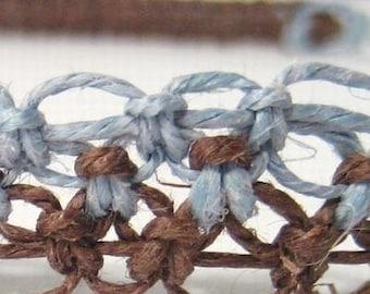 Split Blue and Brown Hemp Necklace