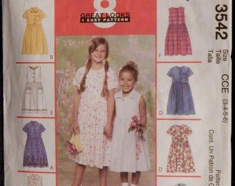 Girls' Dress Pattern (McCall's 3542) Size 3,4,5,6