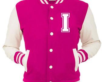 Personalized Pink Varsity Jacket, Base Ball Jacket, Letterman Jacket Pink & White - Custom Letter I