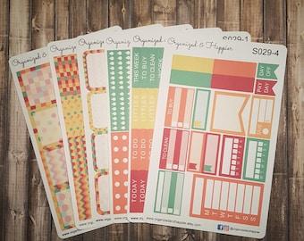 Weekly Personal Sticker Full Kit Erin Condren Planner headers boxes checklist tracker washi flags vertical matte paper #S029-Summer