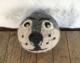 Big Bad Wolf or Dog , Felted Wool Toy Ball or Sculpture , Large