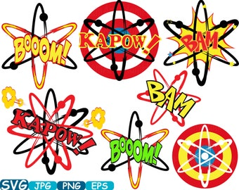 Atom Nuclear Superheroes Pop Art Text Props Super hero Comic Speech Bubble Science Molecules SVG Cutting files clipart eps png dxf jpg -356s