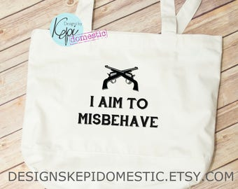 Tote bag - I aim to misbehave - guns