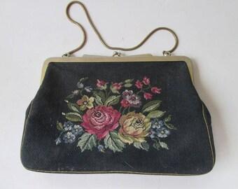 Vintage Black  Floral Tapestry Purse Made in Austria Petit Point Evening Handbag Antique Austrian Purse