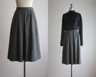 pleated charcoal wool skirt