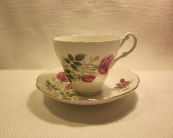Royal Ascot bone china teacup and saucer - made in England