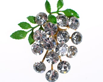 Vintage Rhinestone Berries Brooch with Green Leaves