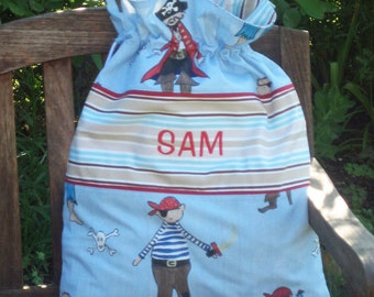 Child's Blue Pirates Personalised Toy Sack, Reversible Kid's Blue Drawstring Storage Bag, Handmade in Pure Cotton and Fully Lined