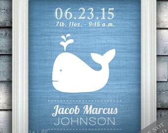 Whale - Wall Decor - Nautical Nursery Art - Birth Announcement - Baby Nursery - Ocean Under the Sea - Newborn Gift - Art Print or Canvas