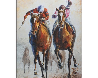 Horse Racing Art 'Contenders' Metal Giclee Modern Race Track Artwork, Abstract Horses & Jockey Contemporary Wall Decor by Leonid Afremov