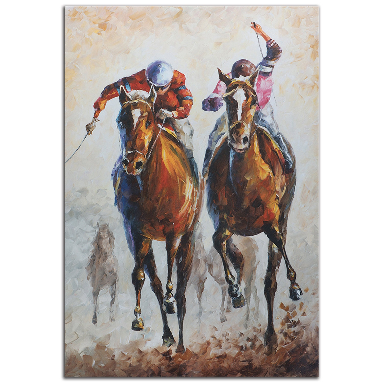 Horse Racing Art \'Contenders\' Metal Giclee Modern Race