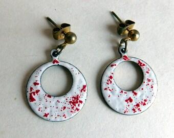 Vintage Mid-Century Modern Enamel-on-Metal Dangle Earrings - White Enamel w/ Red Spatter Speckles - Post Earrings for Pierced Ears 1960s
