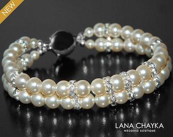 Pearl Cuff Bridal Bracelet, Swarovski Ivory Pearl Silver Bracelet, Wedding Bridal Bracelet, Double Strand Pearl Cuff, Ivory Pearl Jewelry