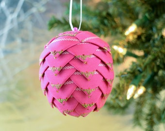 Fuschia Christmas Ornament Victorian Ribbon Ball for Holiday Decor Tree Trimming Printed Holly Pattern German Inspired Holiday Decoration